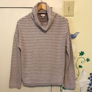 A New Day maroon white striped plush turtleneck